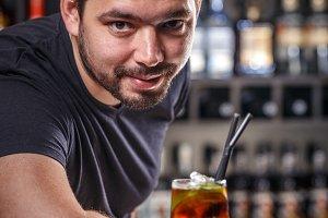 Portrait of handsome barman