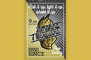 Color vintage marijuana banner