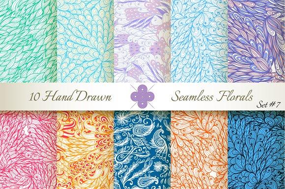 10 Ornate Seamless Florals. Set #7 - Patterns