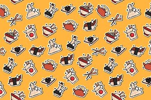 Chinese food concept icons pattern