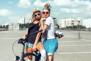 girls with bicycle