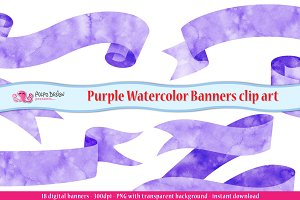 Purple Watercolor Banner clipart