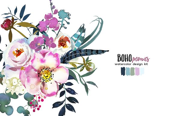 Boho White Pink Peonies Watercolor Illustrations Creative Market