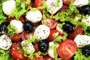 Salad with mozarella cheese