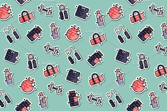 Gym Concept Icons Pattern
