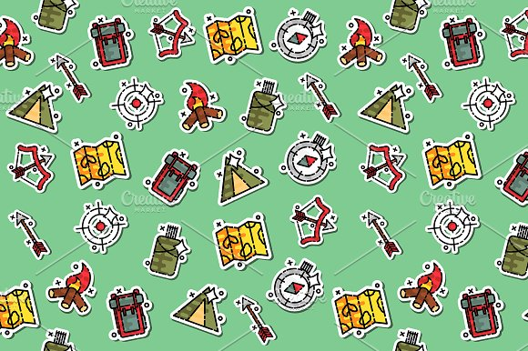 Hunting Concept Icons Pattern