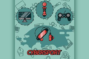 Cybersport flat icons set