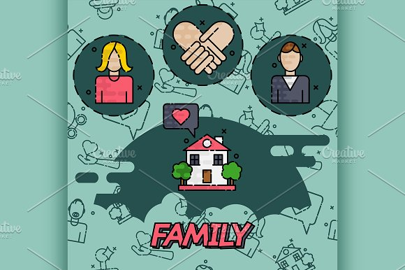 Family Flat Concept Icons