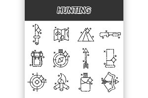 Hunting flat concept icons