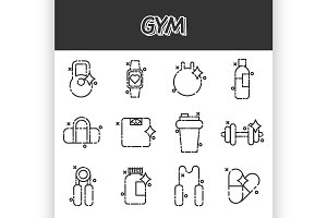 Gym flat concept icons