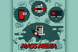 Mass media flat concept icons