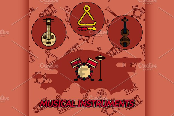 Musical Instruments Flat Concept