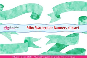 Mint Watercolor Banner clipart