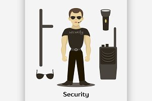 Security man standing