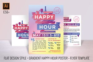Happy Hour Poster Flyer+Social kit