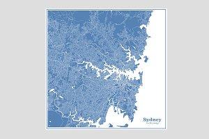 Blue Sydney Map
