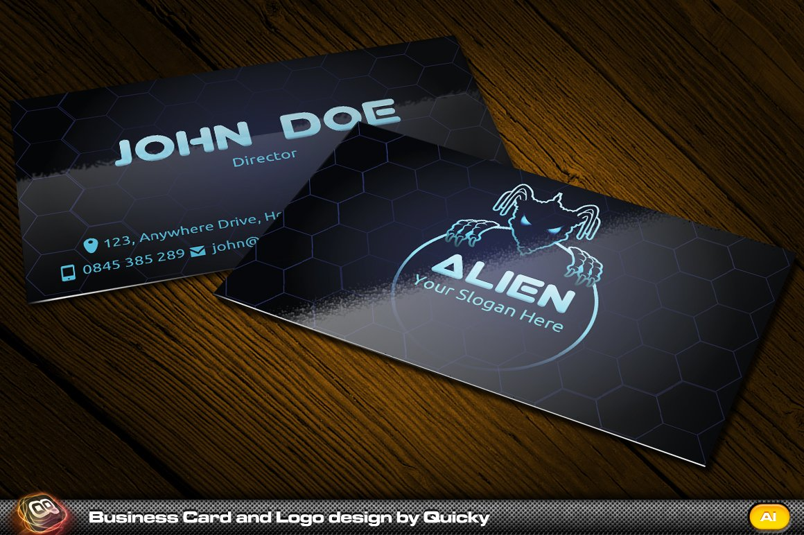 Alien business card and logo business card templates creative market reheart Gallery