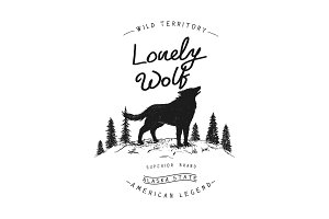 Old label with wolf