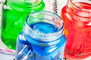 Bright colorful summer drinks