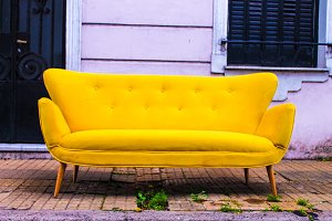 Retro Vintage Sofa in Yellow