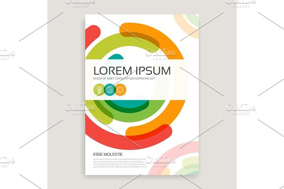 Annual Report Brochure Design Cover With Multicolored Semirings