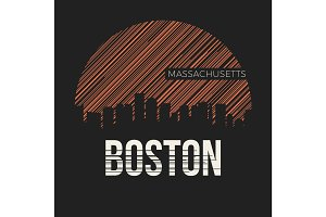 Boston city t-shirt design typography. Vector illustration.