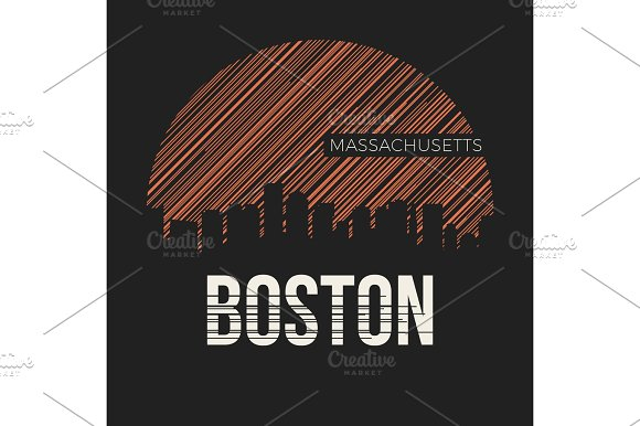 Boston City T-shirt Design Typography Vector Illustration
