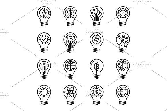 Idea Intelligence Creativity Knowledge Thin Line Icon Set Edita
