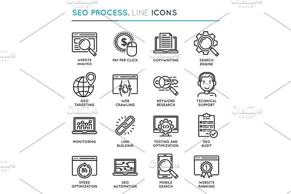 SEO Search Engine Optimization Process Thin Line Icon Set Edita