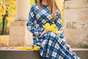 beautiful girl in park autumn