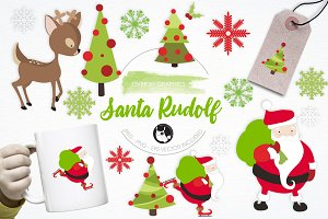 Santa Rudolf illustration pack