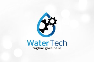 Water Tech Logo Template Design