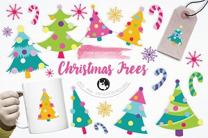 Christmas Trees illustration pack