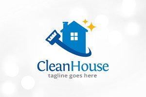 Clean House Logo Template Design