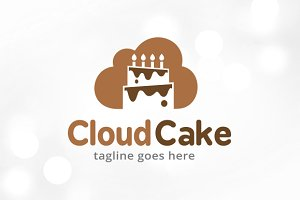 Cloud Cake Logo Template Design