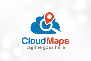 Cloud Maps Logo Template Design