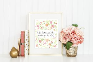 Printable Wall Art Quote Watercolor