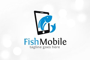 Fish Mobile Logo Template Design