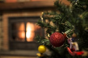 Christmas ornaments and fireplace