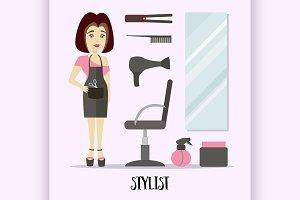 Caucasian stylist standing