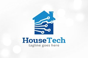 House Tech Logo Template Design