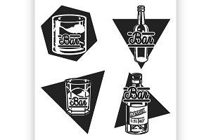 Color vintage bar emblems
