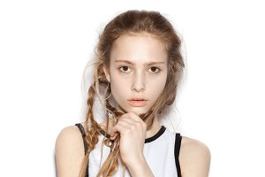 beautiful woman with pigtails