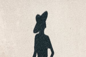 Shadow of girl in hat