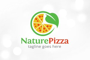 Nature Pizza Logo Template Design