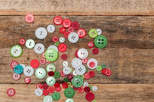 Buttons stack on wooden background