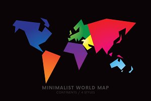 Minimalist World Map ~ 4 Styles