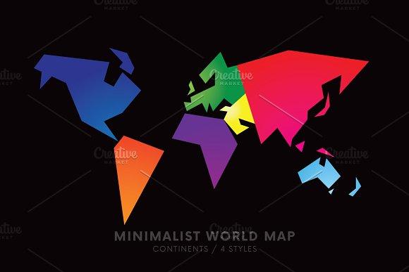 Minimalist world map 4 styles illustrations creative market gumiabroncs Images