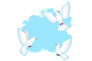 Background with white doves. Beautiful pigeons faith and love symbol