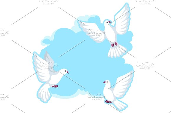 Background With White Doves Beautiful Pigeons Faith And Love Symbol